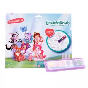 Kit de colorat A4 cu acuarele Enchantimals