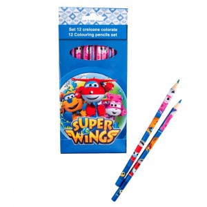 Set 12 creioane colorate Super Wings