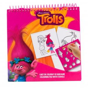 Caiet de colorat cu sabloane Trolls