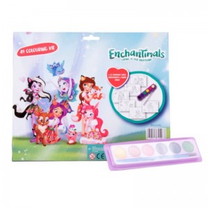 Kit de colorat A4 cu acuarele Enchantimals