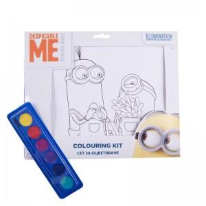 Kit de colorat A4 cu acuarele Minions