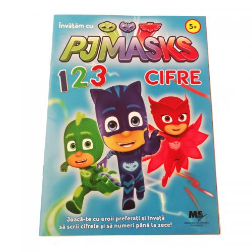 Carte de colorat cu cifre si exercitii PJ Masks