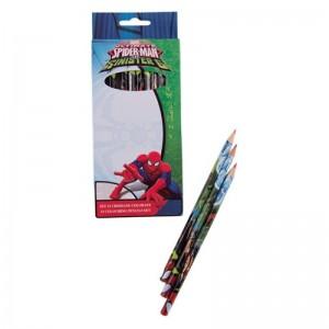 Set 12 creioane colorate Spider-Man