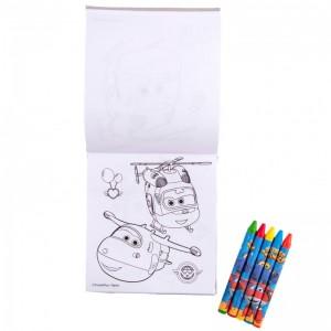 Caiet de colorat cu creioane cerate Super Wings